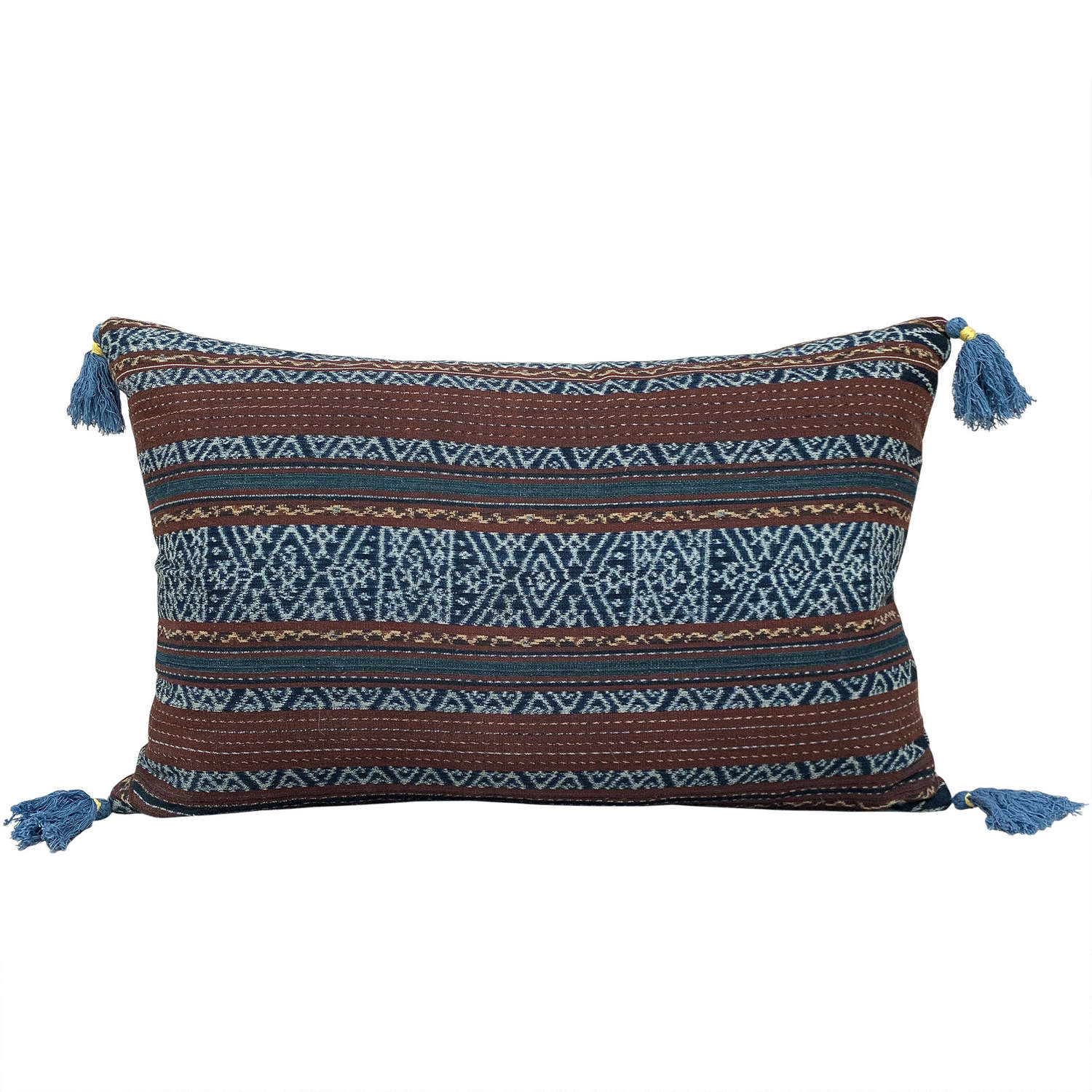 Ikat Cushions with Blue Tassels