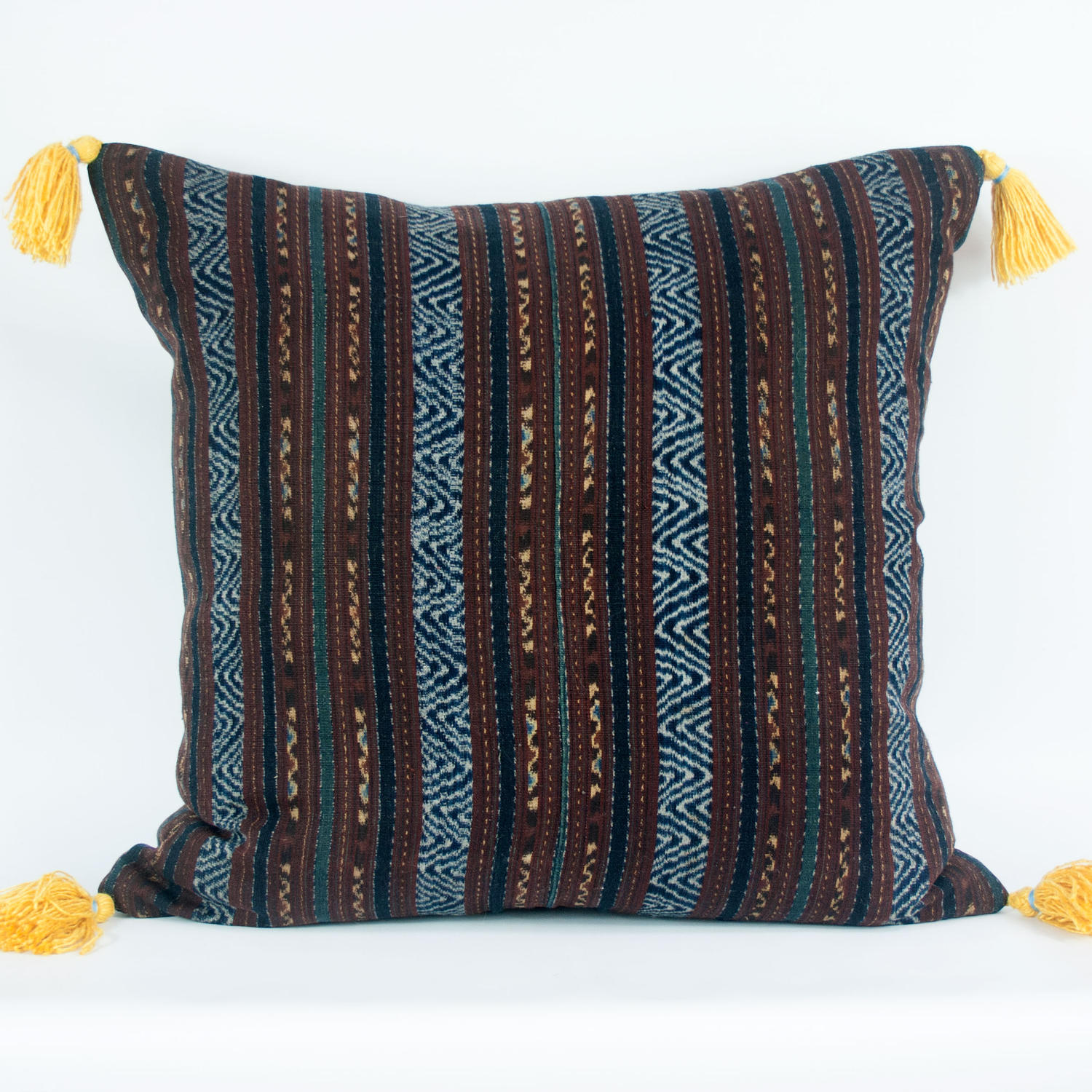 Ikat Cushion with Yellow Tassels