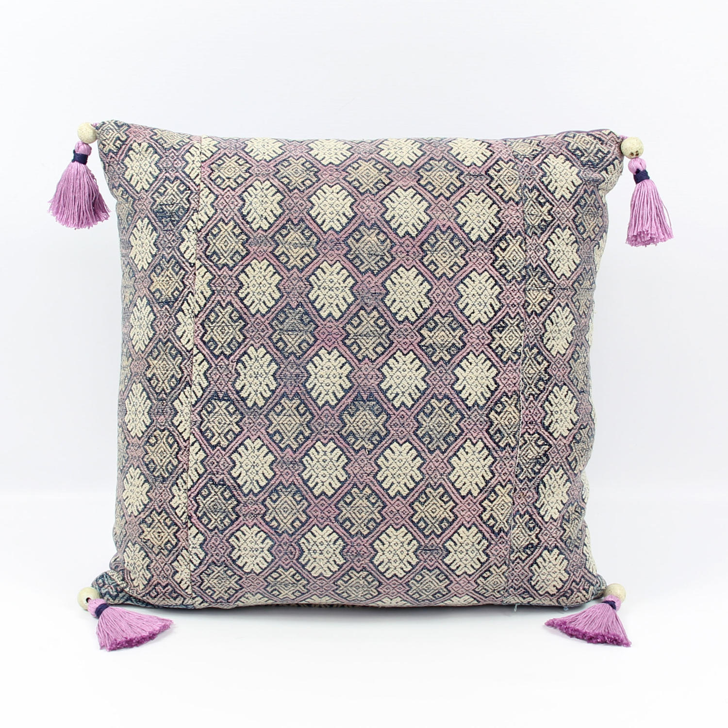 Lilac Silk Buyi Cushion with Tassels