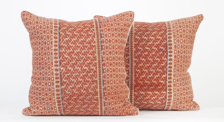 Vintage Wedding Blanket Cushions - Terracotta