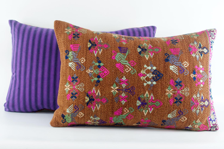 Maonan Cushions with Purple Ticking