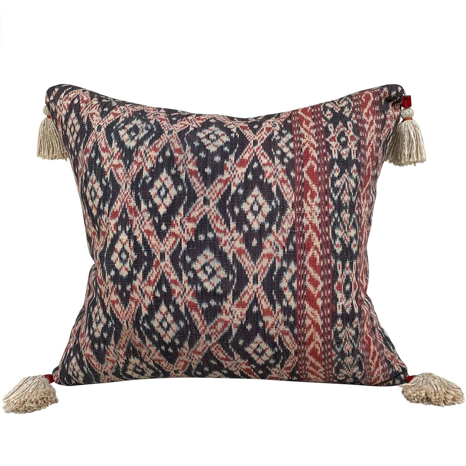 Ikat Cushion with beaded tassels