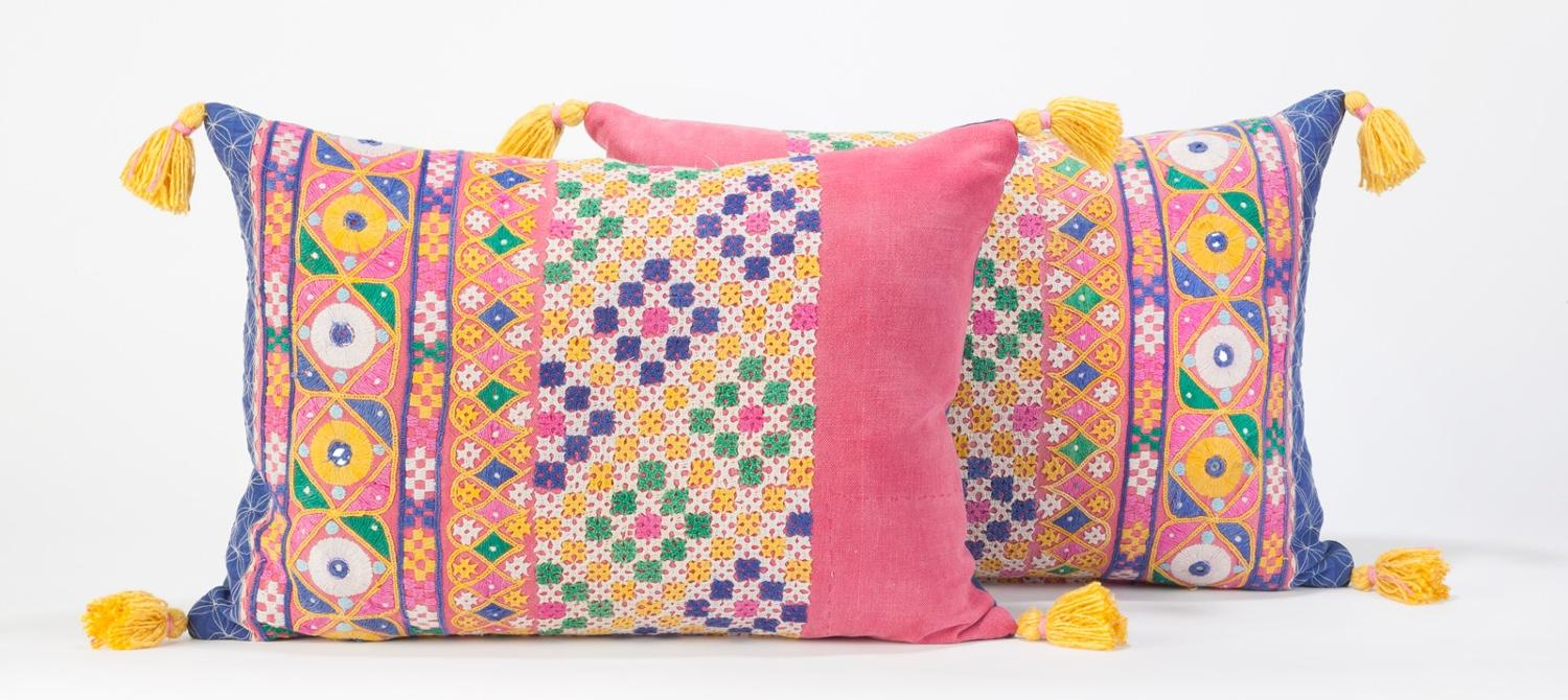 Rajasthan Skirt Cushions with Yellow Tassels