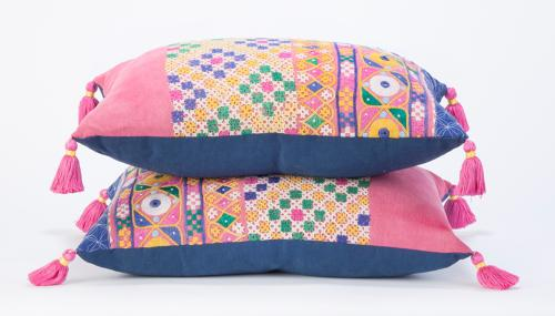 Rajasthan Skirt Cushions with Pink Tassels