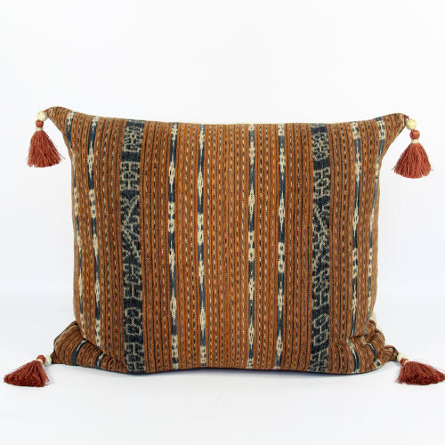 Large Ikat Cushions with Beaded Tassels