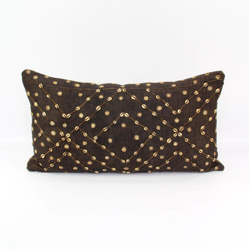 Kuba Cloth cushion with cowrie shells
