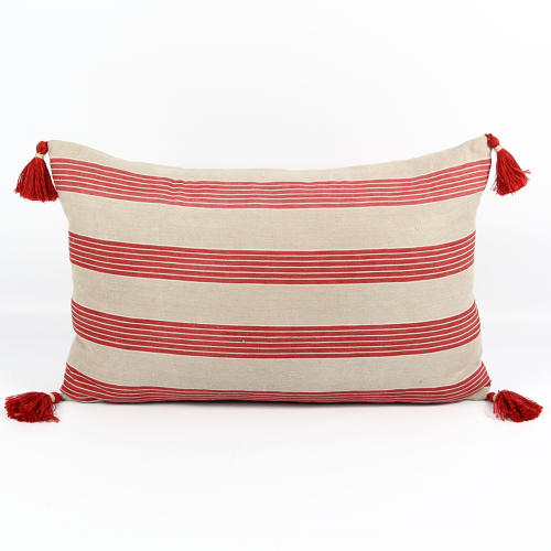 Early C20 Ticking Cushion with Tassels