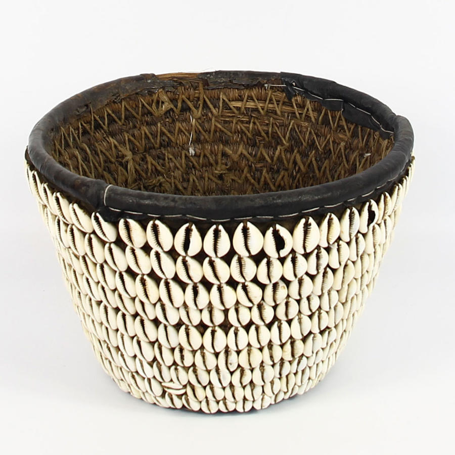 Vintage African Cowrie Shell Basket