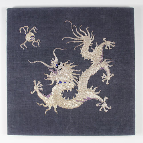 Framed Goldwork Dragon and Fireball