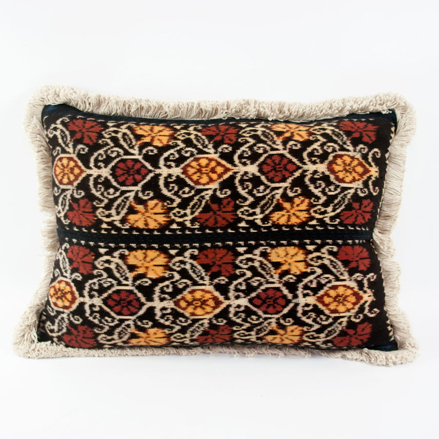 Ikat Cushions with Fringe Trim