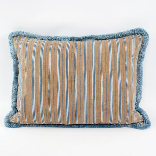 Yoruba Cushions with Blue Fringe Trim