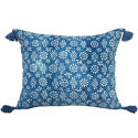 Indigo Resist Cushions with Tassels - picture 1