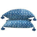 Indigo Resist Cushions with Tassels - picture 3