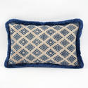 Zhuang Cushion with blue Fringe Trim - picture 1
