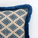 Zhuang Cushion with blue Fringe Trim - picture 4