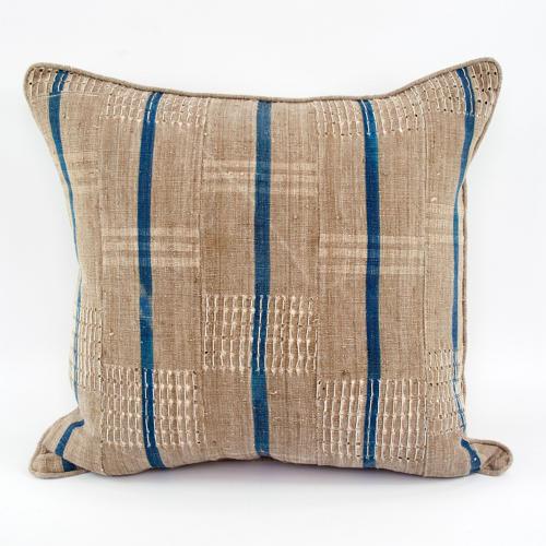 Yoruba Cushions with blue stripes