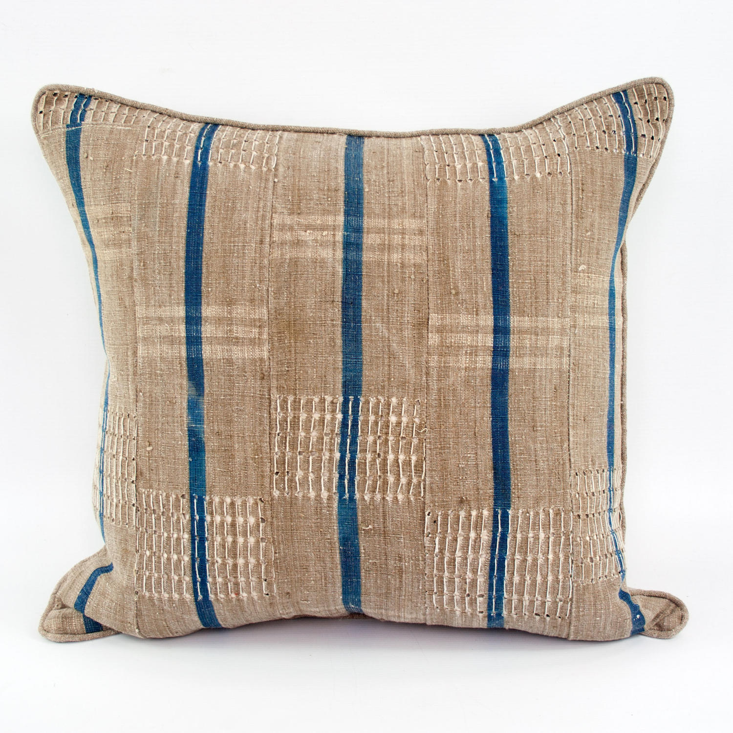 Yoruba Cushions with blue stripes