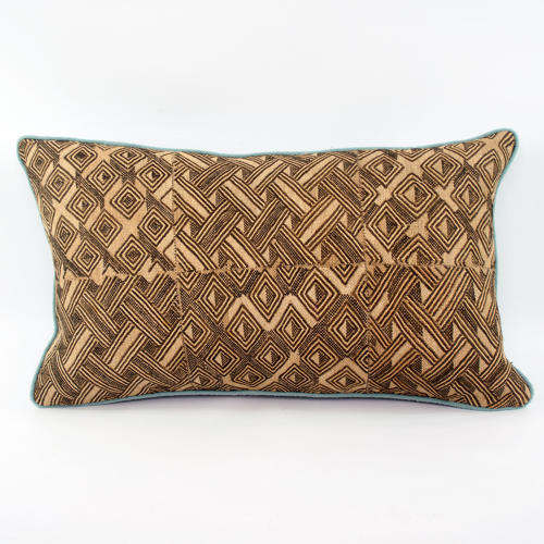 Kuba Cloth Cushion with Duck Egg Piping