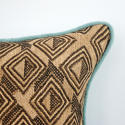 Kuba Cloth Cushion with Duck Egg Piping - picture 3