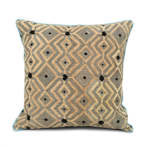 Kuba Cloth Cushion with Duck Egg Piping