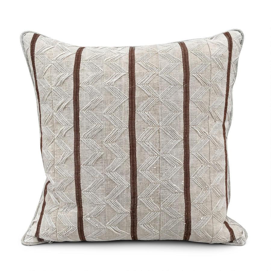 Yoruba Zig Zag  Cushion with brown Stripe