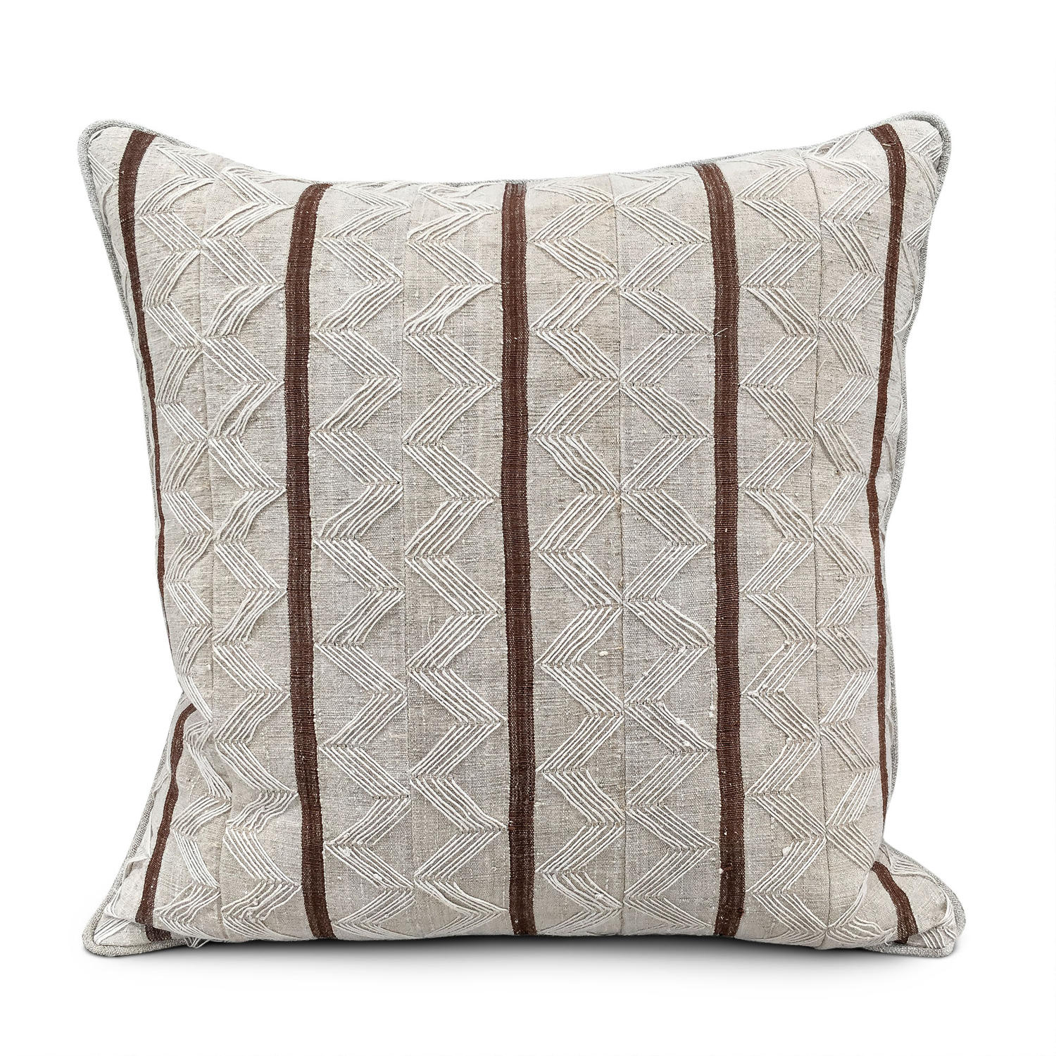 Yoruba Zig Zag  Cushion with brown Stripe