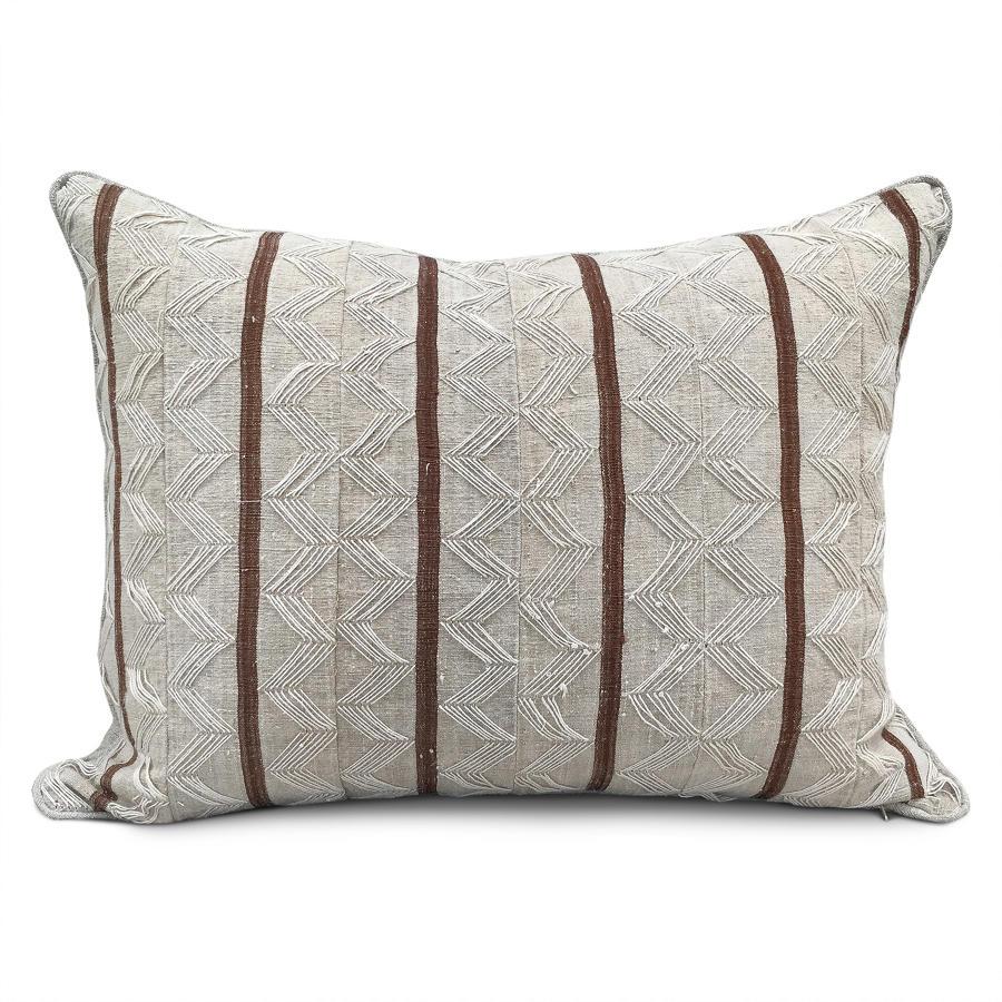 Yoruba Zig Zag Cushions with Brown Stripe