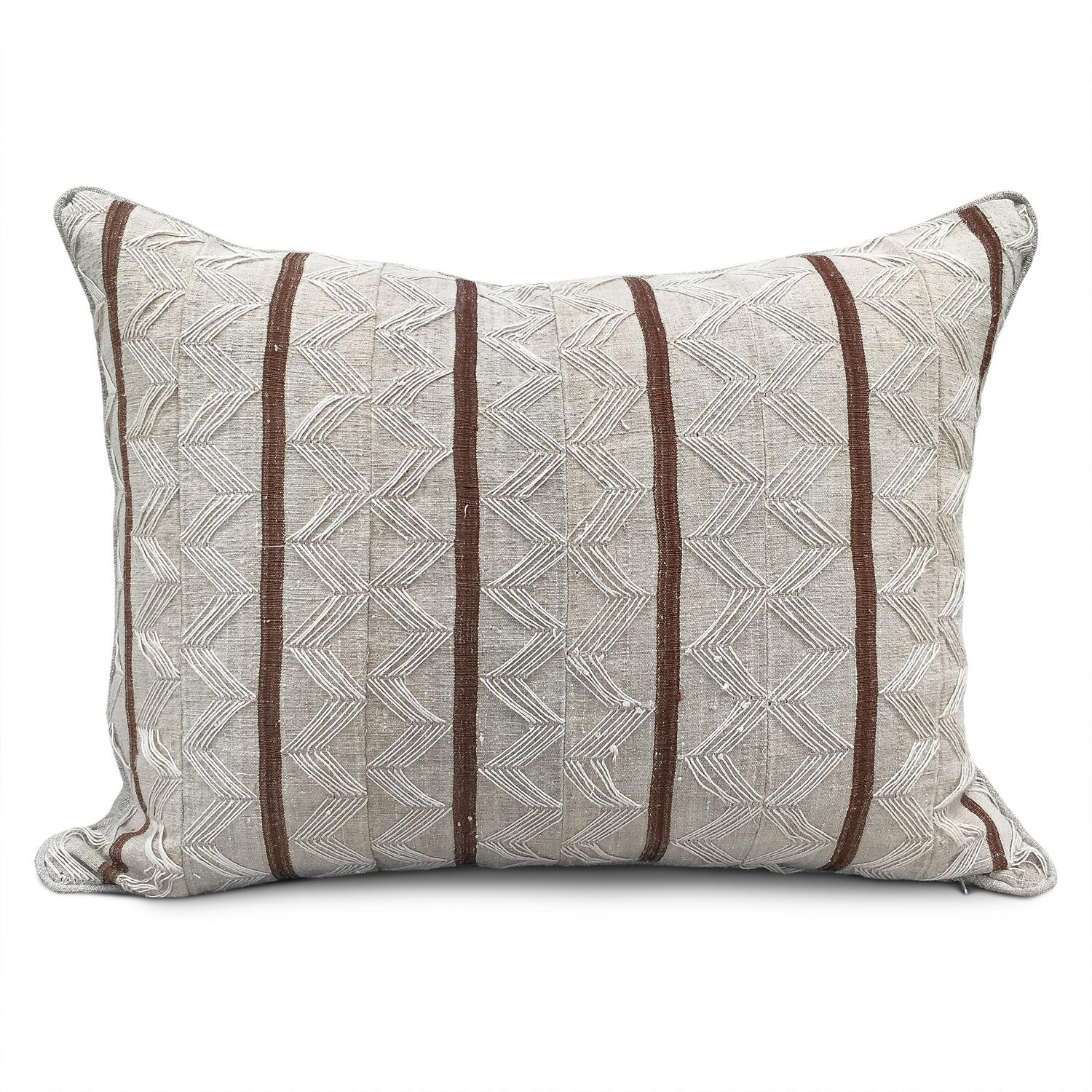 Yoruba Zig Zag Cushions with Brown Stripe