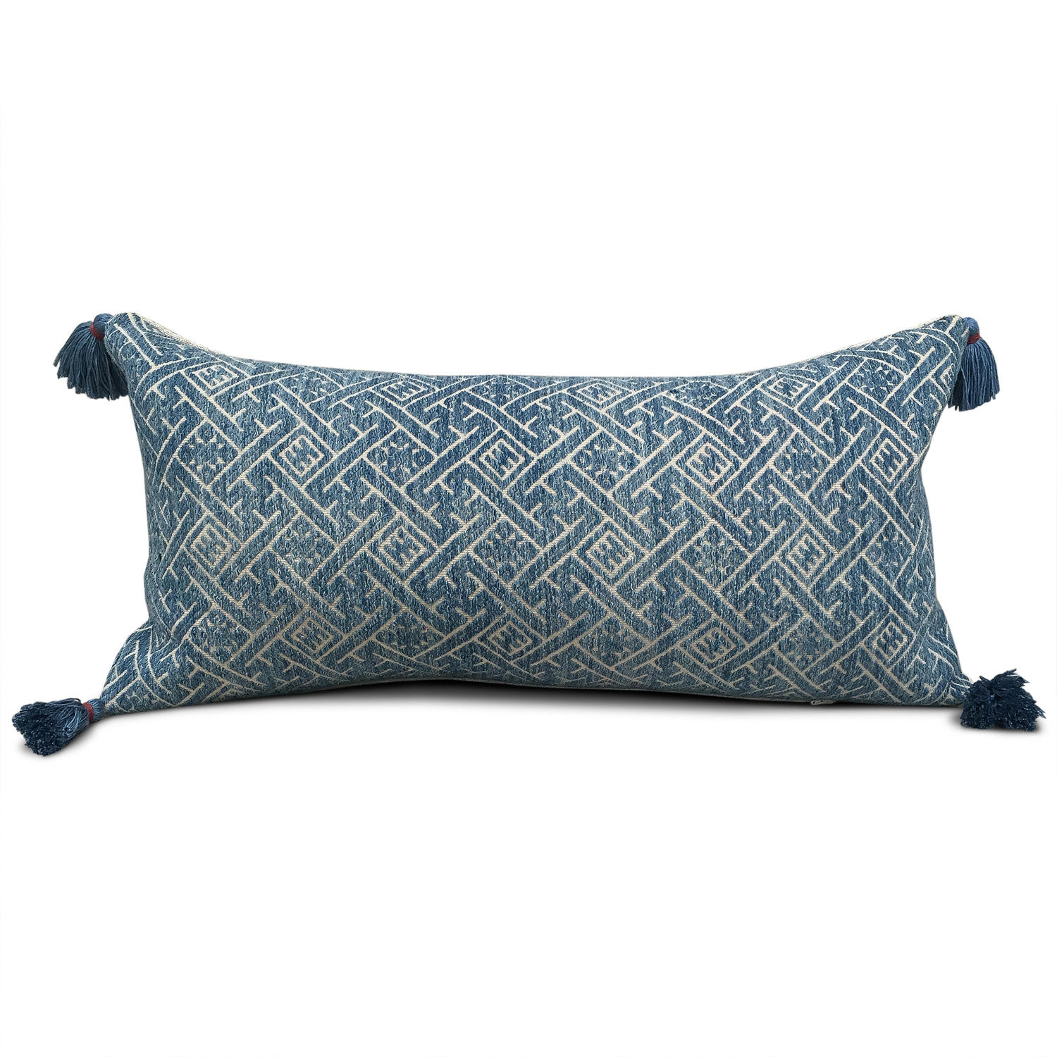 Blue Zhuang Cushions with Blue Tassels