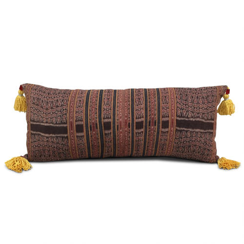 Timor Ikat with Beaded Yellow Tassels