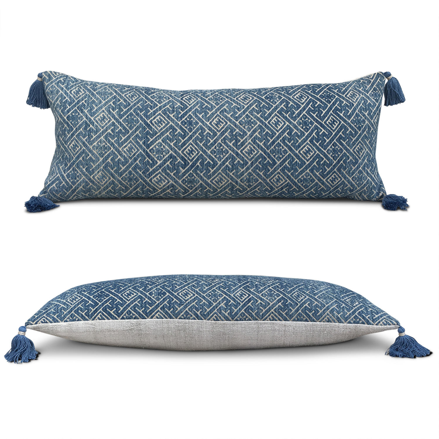 Long Indigo Zhuang Cushion with Tassels