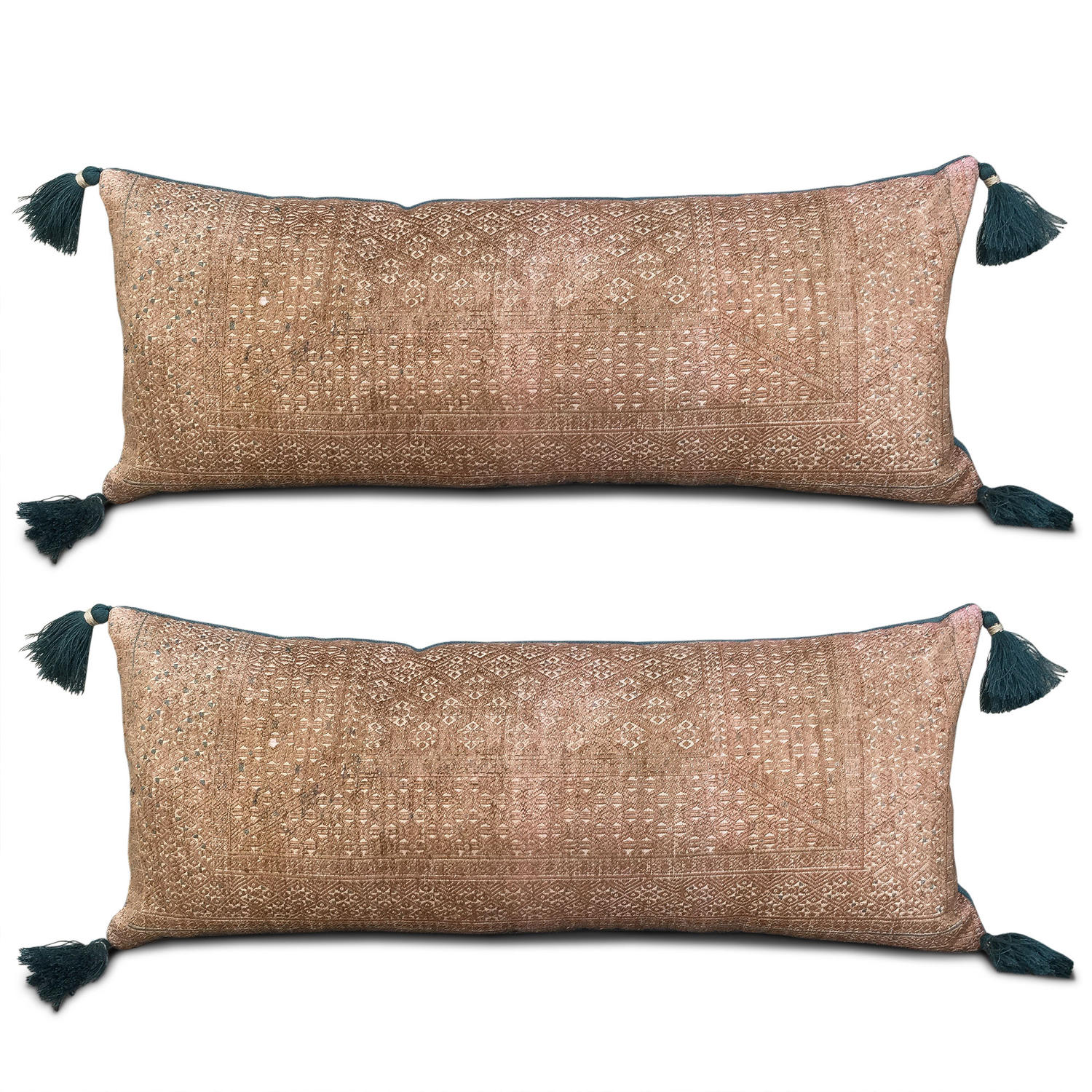 Bronze and Teal Zhuang Cushions