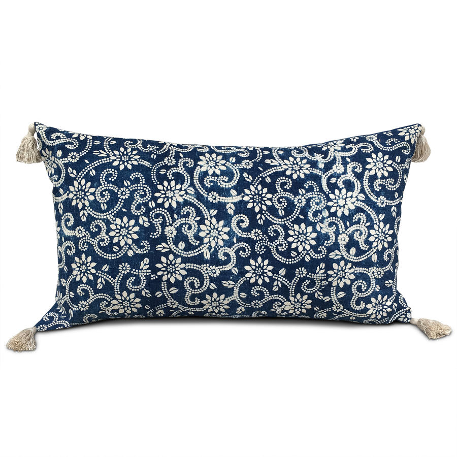 Indigo Resist Cushion with Tassels