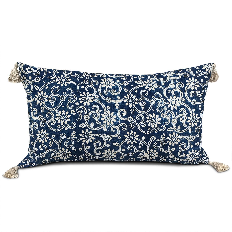 Indigo Resist Cushion with Tassels