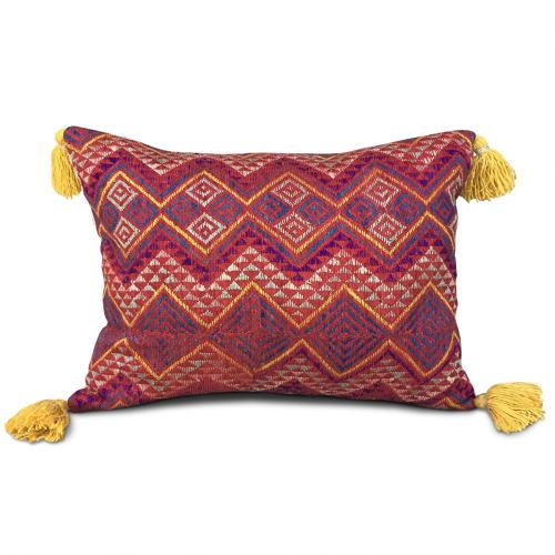 Wedding Blanket Cushion with Yellow Tassels