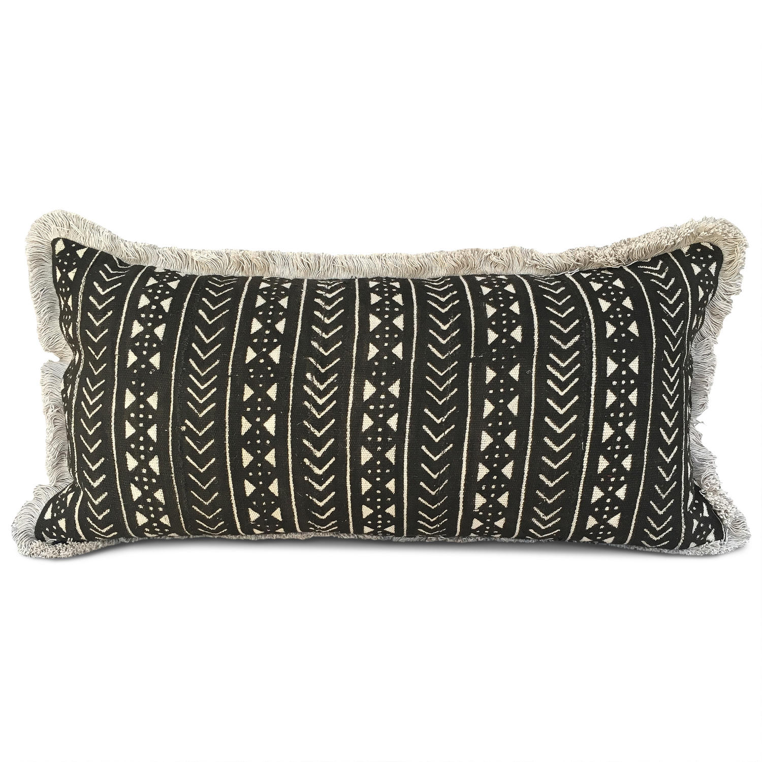 Large Mud Cloth Cushion with Fringe