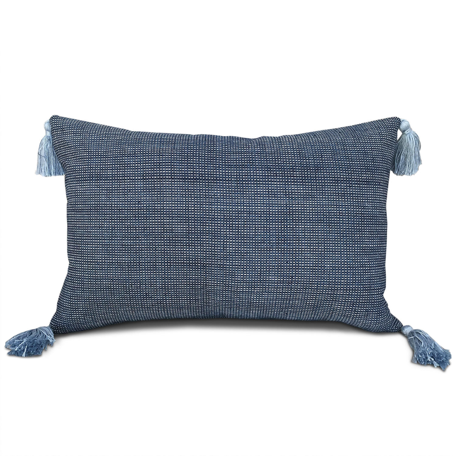 Shui Cushion with Blue Tassels