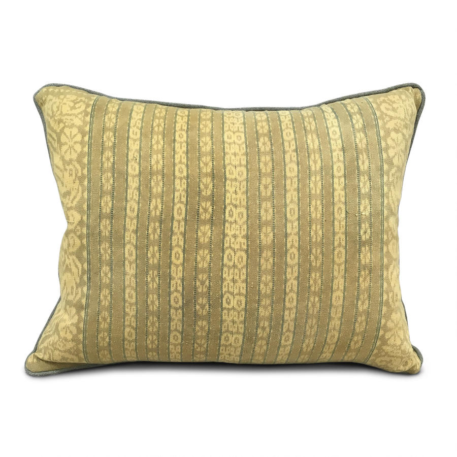 Mustard & Sage Ikat Cushion