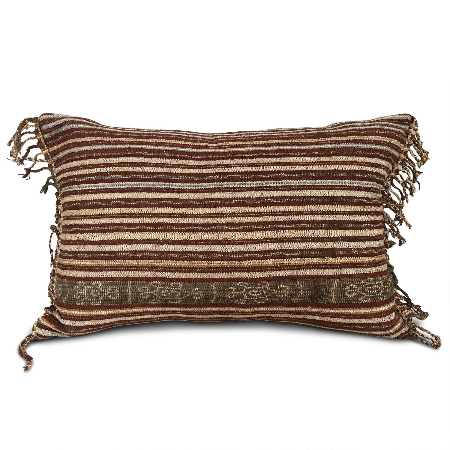 Ikat Cushions with Tassel Fringe Trim