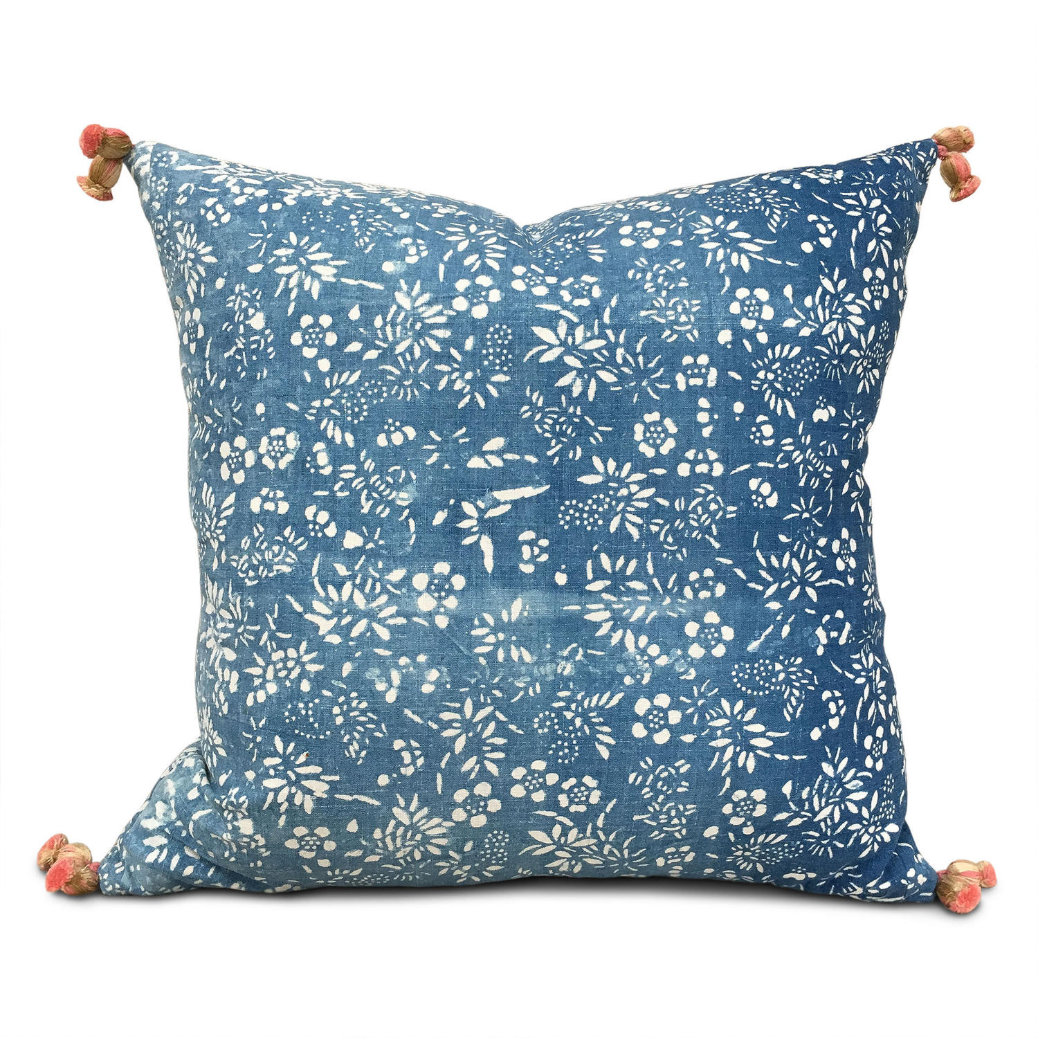 Indigo Resist Cushions with Tassels