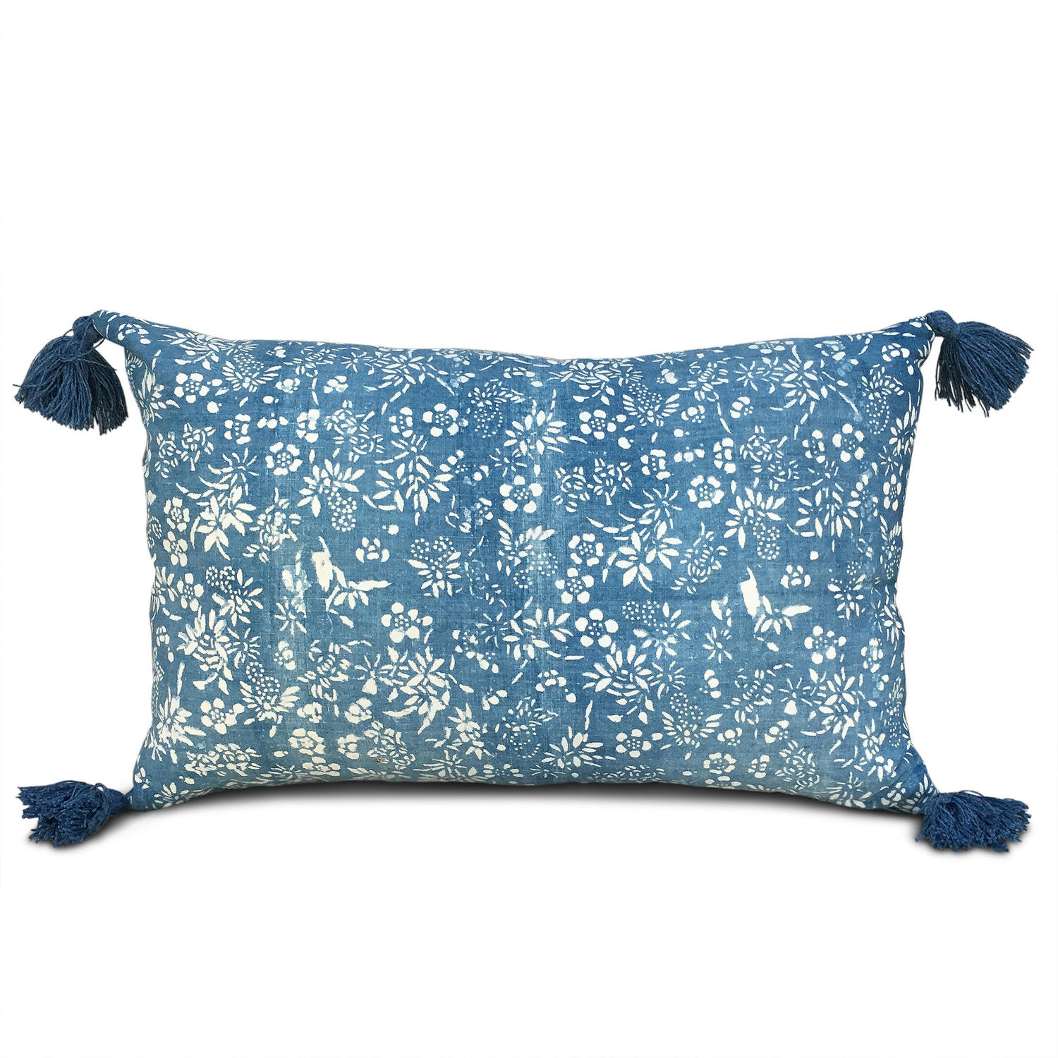 Indigo Resist Cushion with Blue Tassels