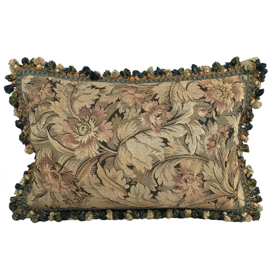 Tapestry Cushion with Fringe Trim