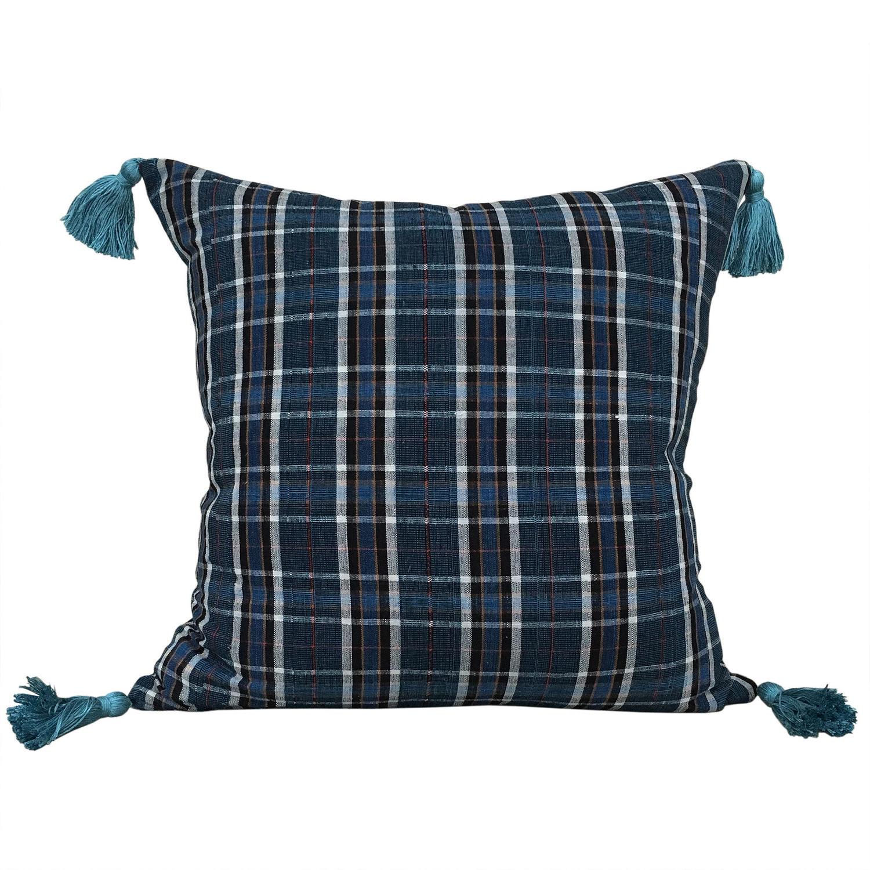 Buyi Homespun Checked Cushion with Tassels