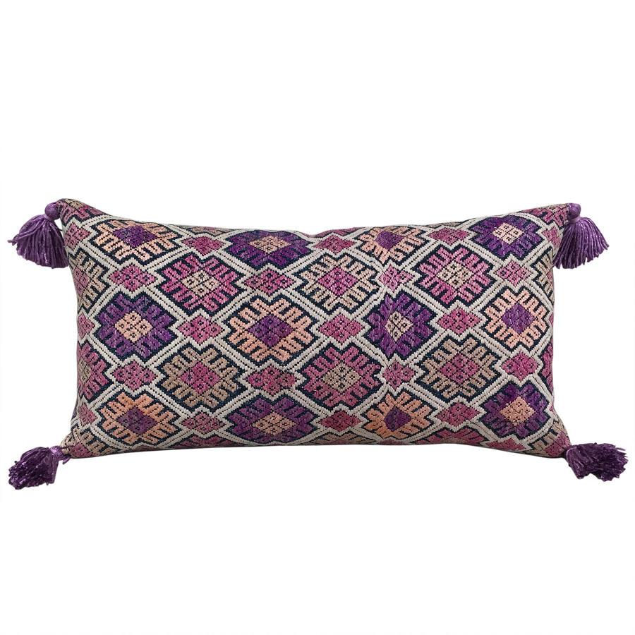 White Tai Cushion with Silk Tassels