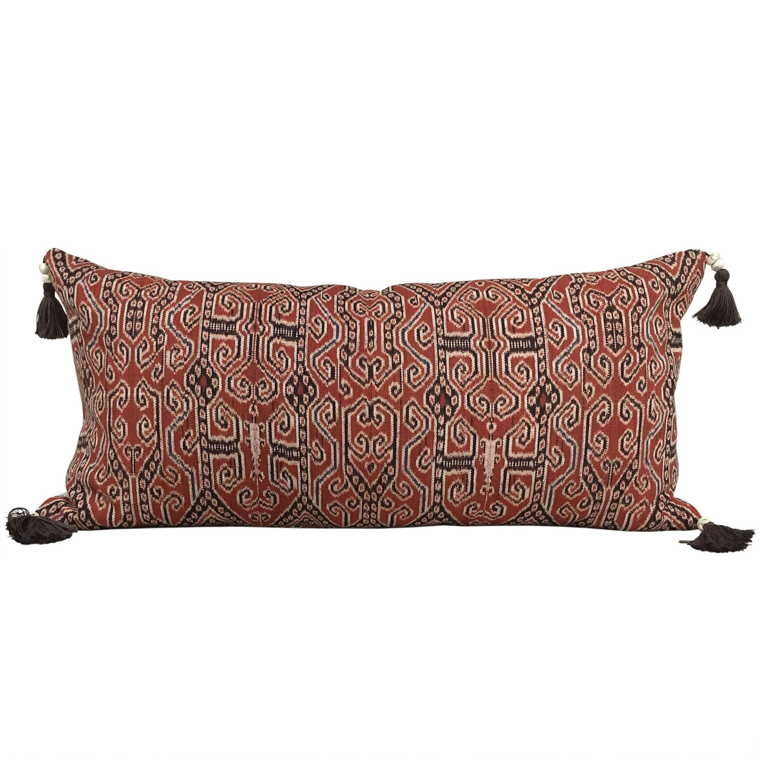 Large Iban Ikat Cushion with Beaded Tassels