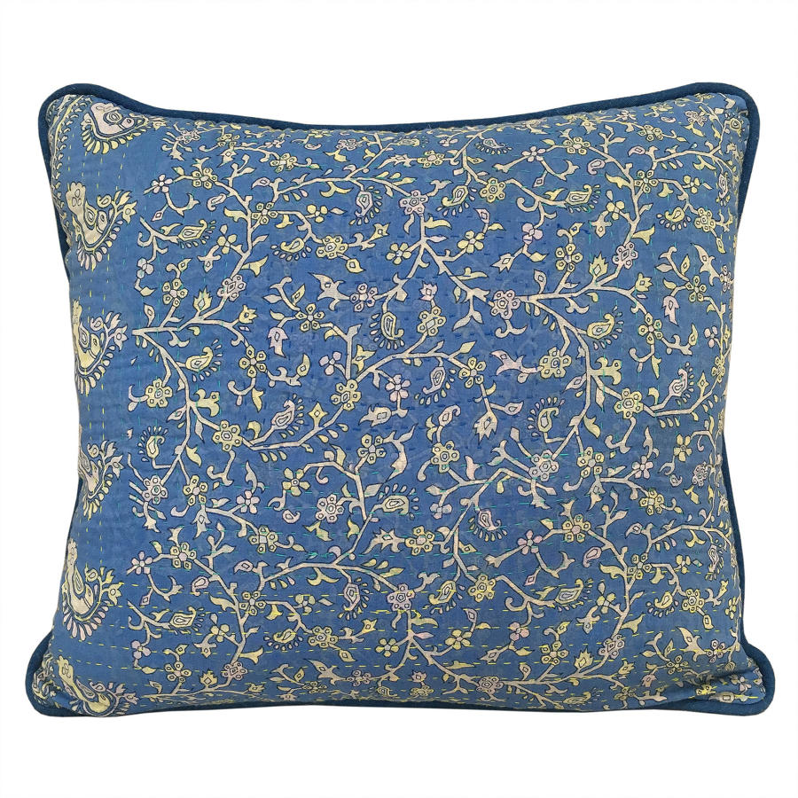 Blue & Yellow Sari Cushions