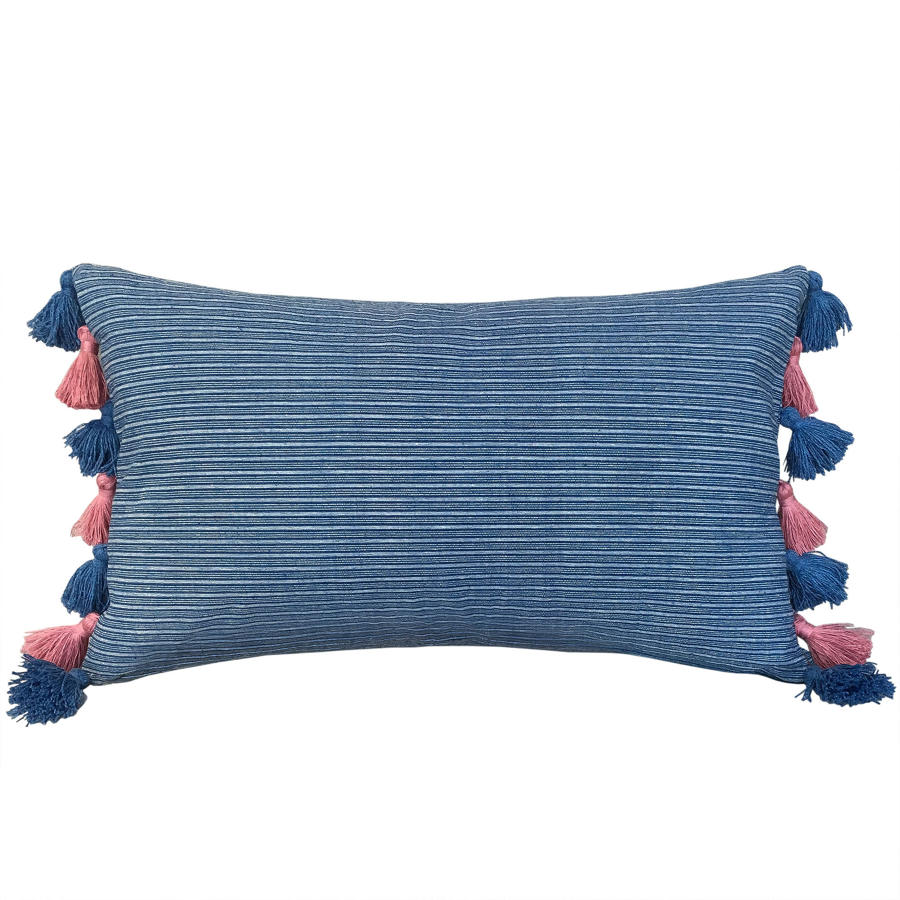 Buyi Cushion with Pink & Blue Tassels