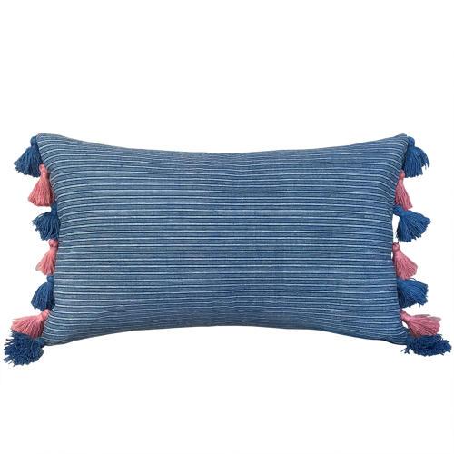Buyi Cushion with Pink & Blue Tassels