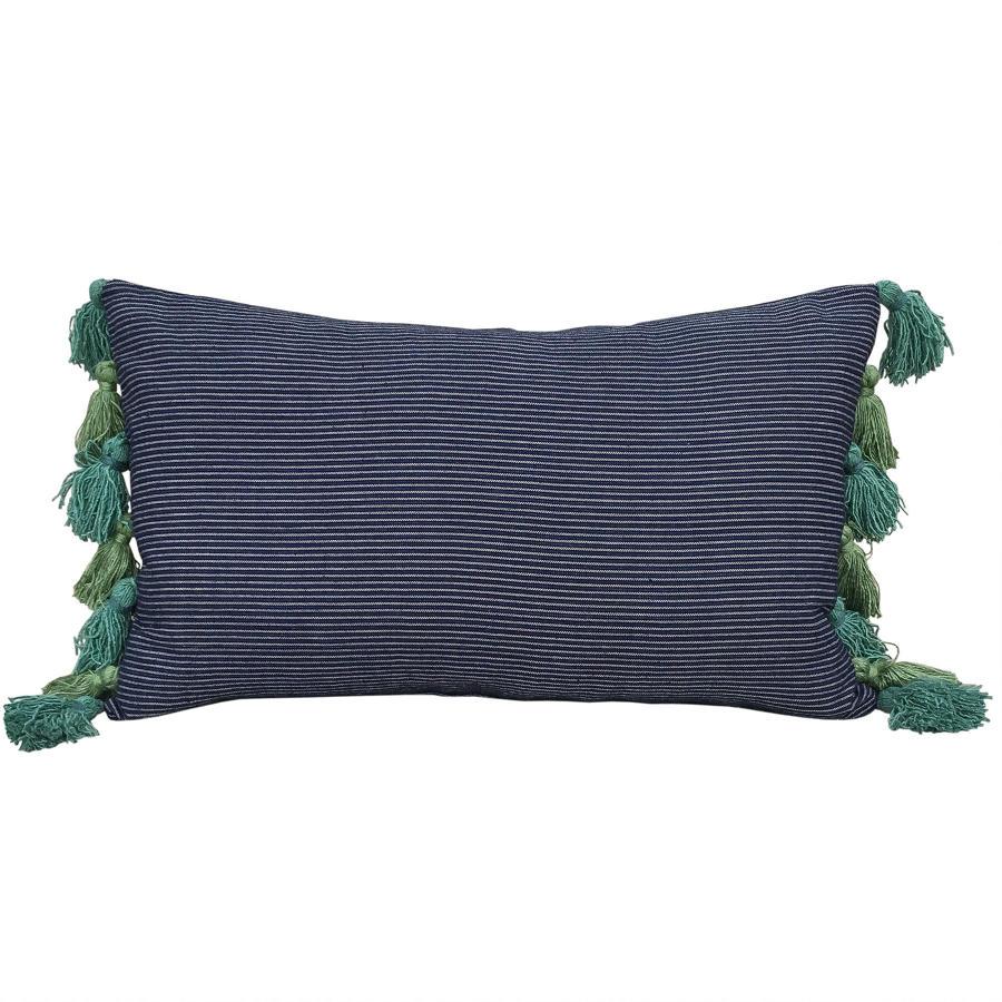 Buyi Cushion with Green & Teal Tassels