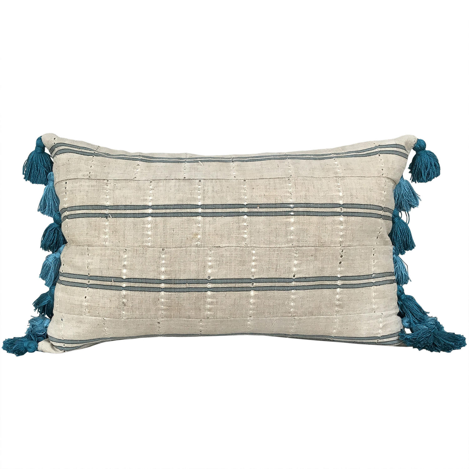 Yoruba Cushions with Teal Tassels